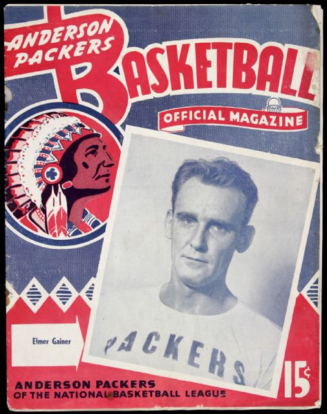 1946-51 Anderson Packers NBL Program w/ Elmer Gainer on Cover
