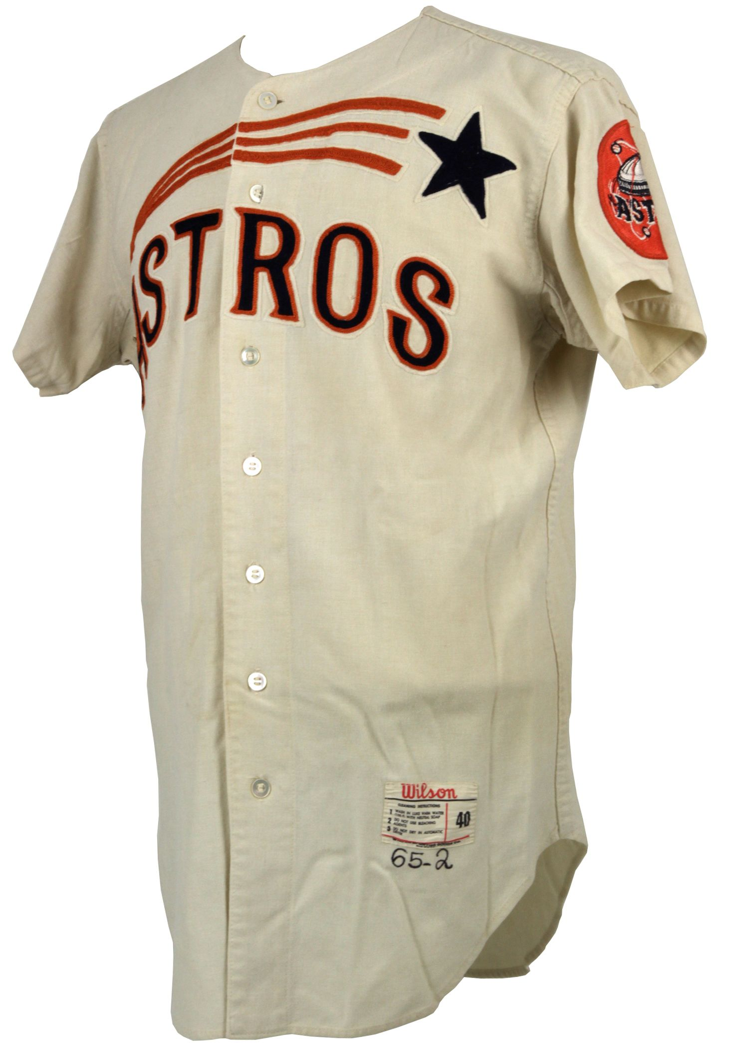 new styles f16d8 e725e 1965 Detail Houston - A5 Jersey Astros Game Worn mears Lot ...