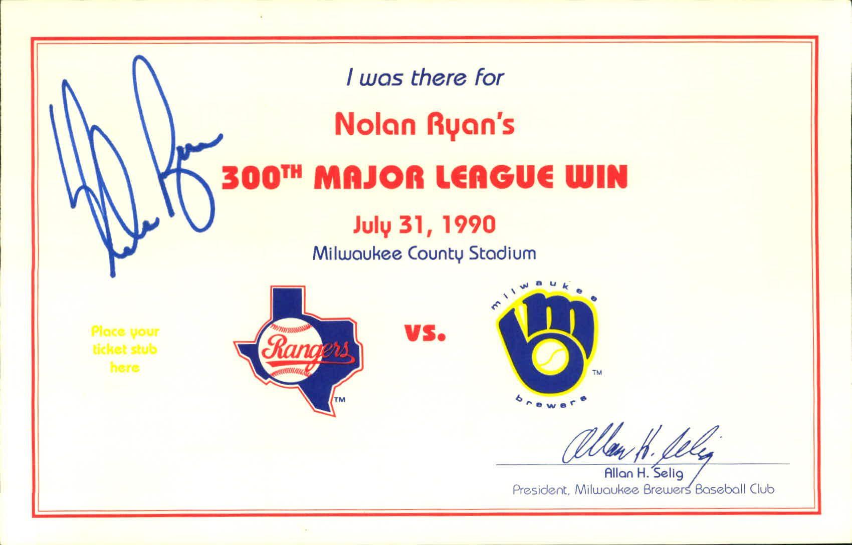 Lot Detail 1990 Nolan Ryan Texas Rangers Signed 300th