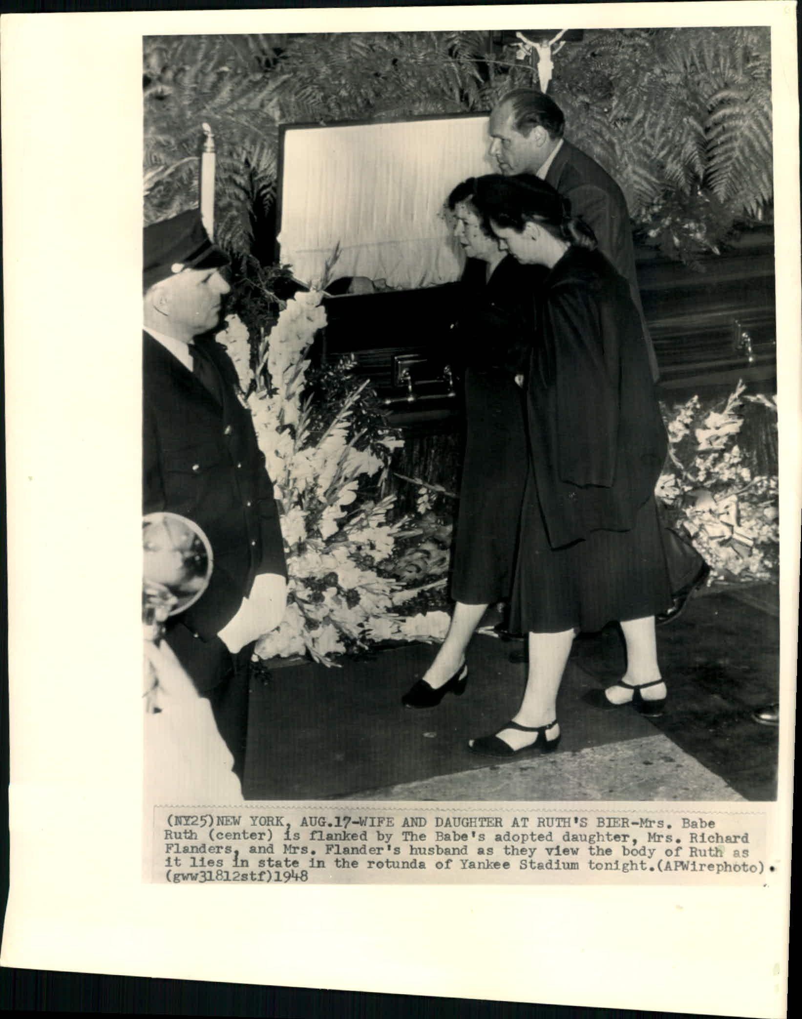 lot detail 1948 babe ruth funeral ceremonies quotthe