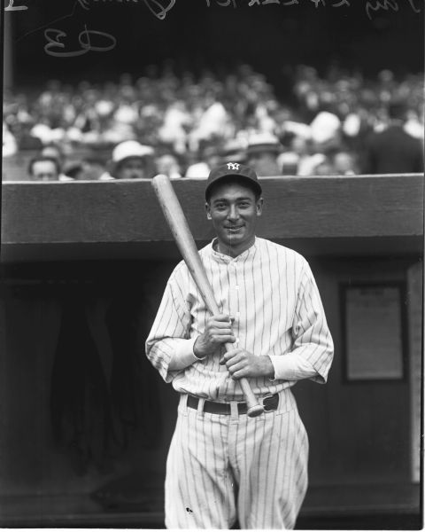 "1929 Tony Lazzeri New York Yankees Charles Conlon Original 11"" x 14"" Photo Hand Developed from Glass Plate Negative & Published (The Sporting News Hologram/MEARS Photo LOA)"