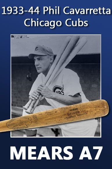1934-44 Phil Cavarretta Chicago Cubs Autographed H&B Louisville Slugger Professional Model Game Bat (MEARS A7)