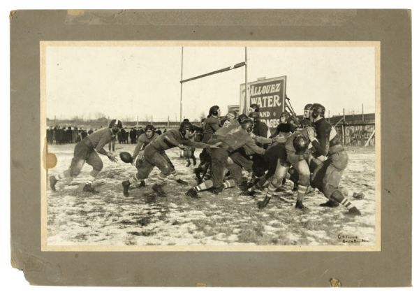 "1921 Curly Lambeau Green Bay Packers 14""x19"" Rookie Action Mounted Original Studio Photo - First Glimpse at the Birth of a Franchise (Buff Wagner Estate) MEARS LOA"