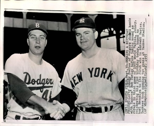 "1955 Johnny Podres Brooklyn Dodgers ""Seattle Times"" Original 8 x 10 News Photo (""Seattle Times"" Hologram/MEARS LOA)"