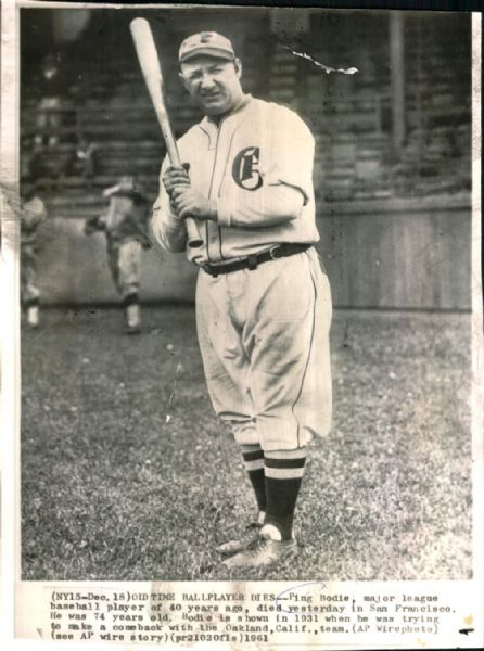 "1931 Ping Bodie Oakland Oaks PCL ""TSN Collection Archives"" Original 7"" x 9"" Photo (Sporting News Collection Hologram/MEARS LOA)"