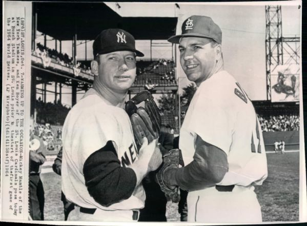 "1964 Mickey Mantle New York Yankees & Ken Boyer St. Louis Cardinals  ""Boston Herald Collection Archives"" Original 7"" x 9"" Photo (Boston Herald Archives Hologram/MEARS Photo LOA)"