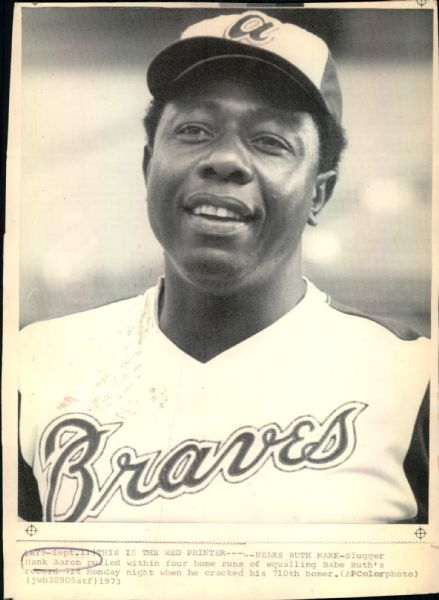 "1974 Hank Aaron Atlanta Braves ""Boston Herald Collection Archives"" Original 7"" x 10"" Photo (BH Hologram/MEARS LOA)"