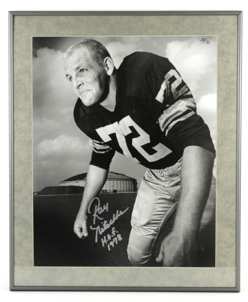 "1958 Ray Nitschke Green Bay Packers Signed 20"" x 24"" Photo Display Wearing #72 21/72 ""H.o.f 1978""- JSA"