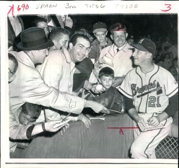 "1961 Warren Spahn Milwaukee Braves ""Boston Herald Archives"" Original 8"" x 8.5"" Photo (BH Archives Hologram/MEARS LOA)"