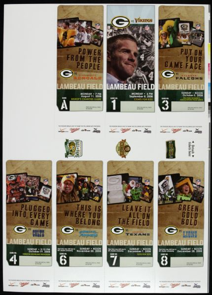 2008 Green Bay Packers 7 Game Full Ticket Sheet w/ Aaron Rodgers First Start vs. Vikings Ticket