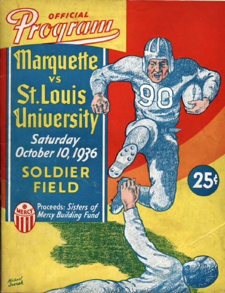 1936 Marquette vs St. Louis University Football Official Program Soldier Field