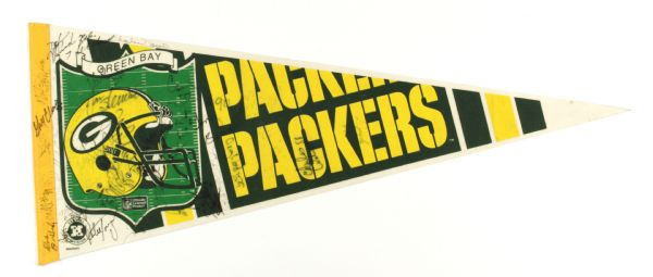 1990s Green Bay Packers Autographed Full Size Pennants - Lot of 3 (MEARS LOA)