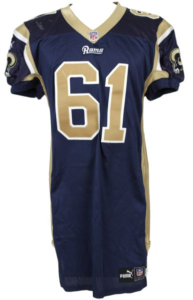 2000 Tom Nutten St. Louis Rams Game Worn Jersey w/2 Repairs - MEARS LOA