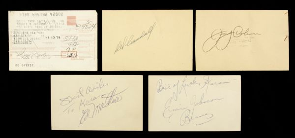 1950s Baseball Greats Signed Index Card - Lot of 4 w/Del Crandall Jerry Coleman Ernie Johnson & Reggie Jackson Receipt - JSA