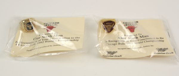 1992-93 Chicago Bulls Replica Championship Ring - Given to Fans - Lot of 2