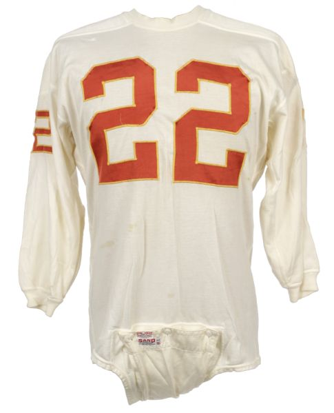 1960s early Willie Mitchell Kansas City Chiefs Game Worn Durene  Jersey w/6 Repairs - MEARS LOA
