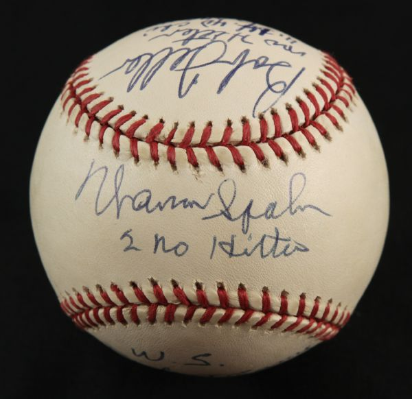 1984-94 Warren Spahn Milwaukee Braves Don Larsen Yankees & Bob Feller Indians Multi Signed Ball With Lengthy Inscriptions - JSA