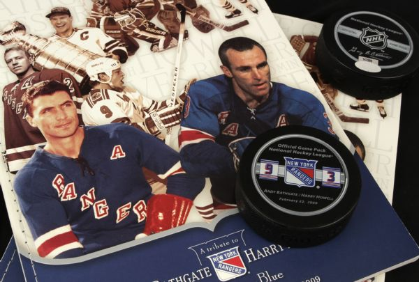 2009 Harry Howell & Andy Bathgate New York Rangers Signed Collection - (2) Framed Photos (2) Hockey Pucks Steiner Hologram - JSA