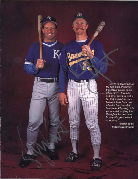 1993 George Brett Kansas Ciy Royals & Robin Yount Milwaukee Brewers Signed Publication - JSA
