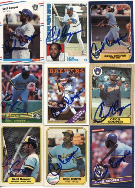 1980s Cecil Cooper Milwaukee Brewers Signed Card - Lot of 10 - JSA