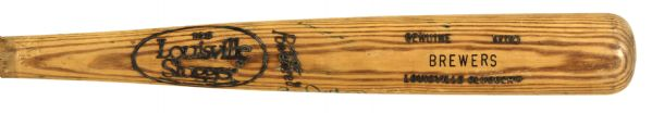 1986-89 Milwaukee Brewers Louisville Slugger Professional Model Game Used Bat Autographed by Greg Vaughn (MEARS LOA)