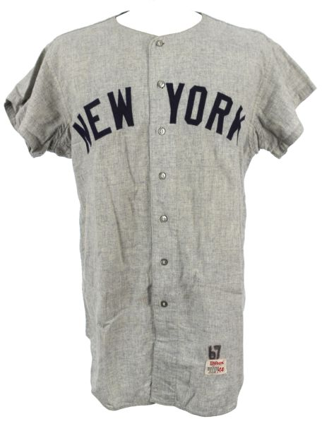 1967 Lou Clinton New York Yankees Game Worn Flannel Jersey - MEARS A10