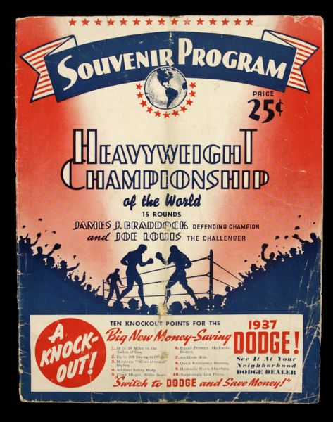 1935 James J. Braddock vs. Joe Louis Program From Comiskey Park in Chicago  - Louis First Heavyweight Title