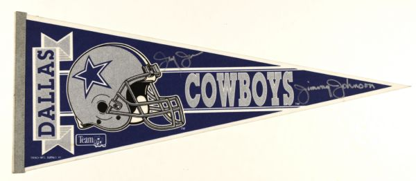 1990s Jerry Jones & Jimmy Johnson Dallas Cowboys Signed Full Size Pennant - MEARS LOA