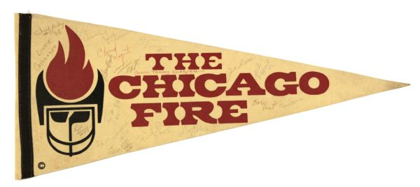 1973-74 The Chicago Fire Team Signed Full Size Pennant