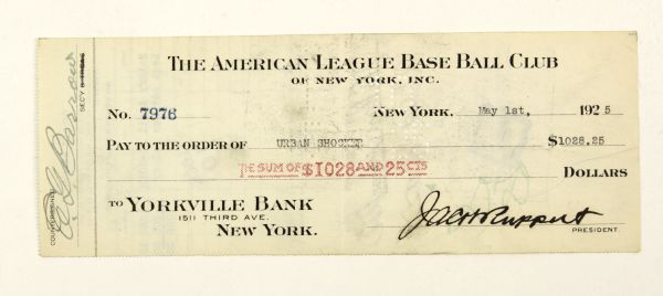 1925 Urban Shocker New York Yankees Signed Payroll Check The Toughest Autograph From 1927 Yankees Murderers Row Also Signed by HOFer Ed Barrow & Owner Jacob Ruppert - JSA