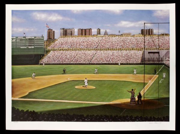 "1998 Babe Ruth Called Shot New York Yankees vs. Cubs World Series Wrigley Field 29"" x 22"" 134/600"