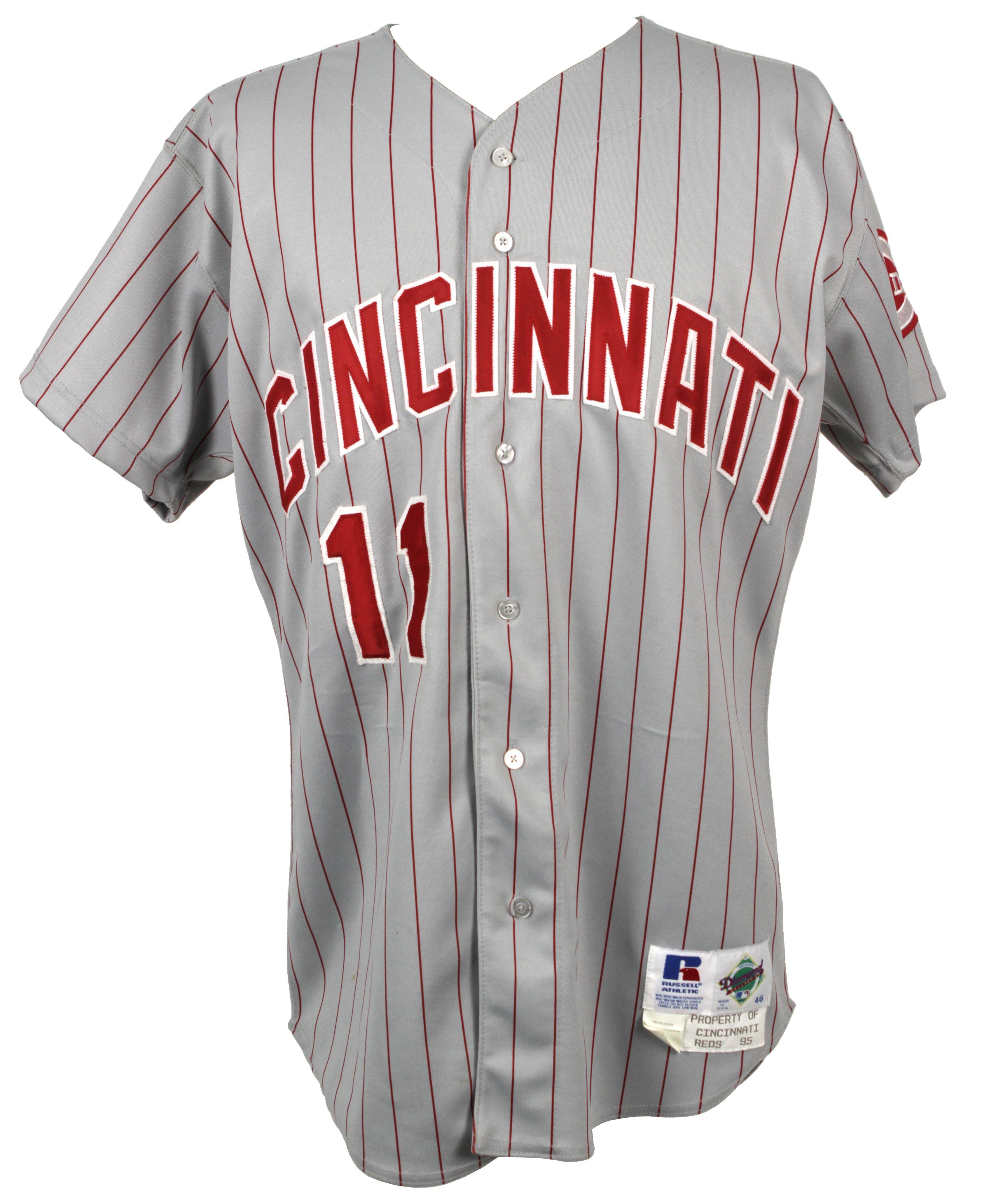 premium selection cc307 02a52 Lot Detail - 1995 Barry Larkin Cincinnati Reds Game Worn ...