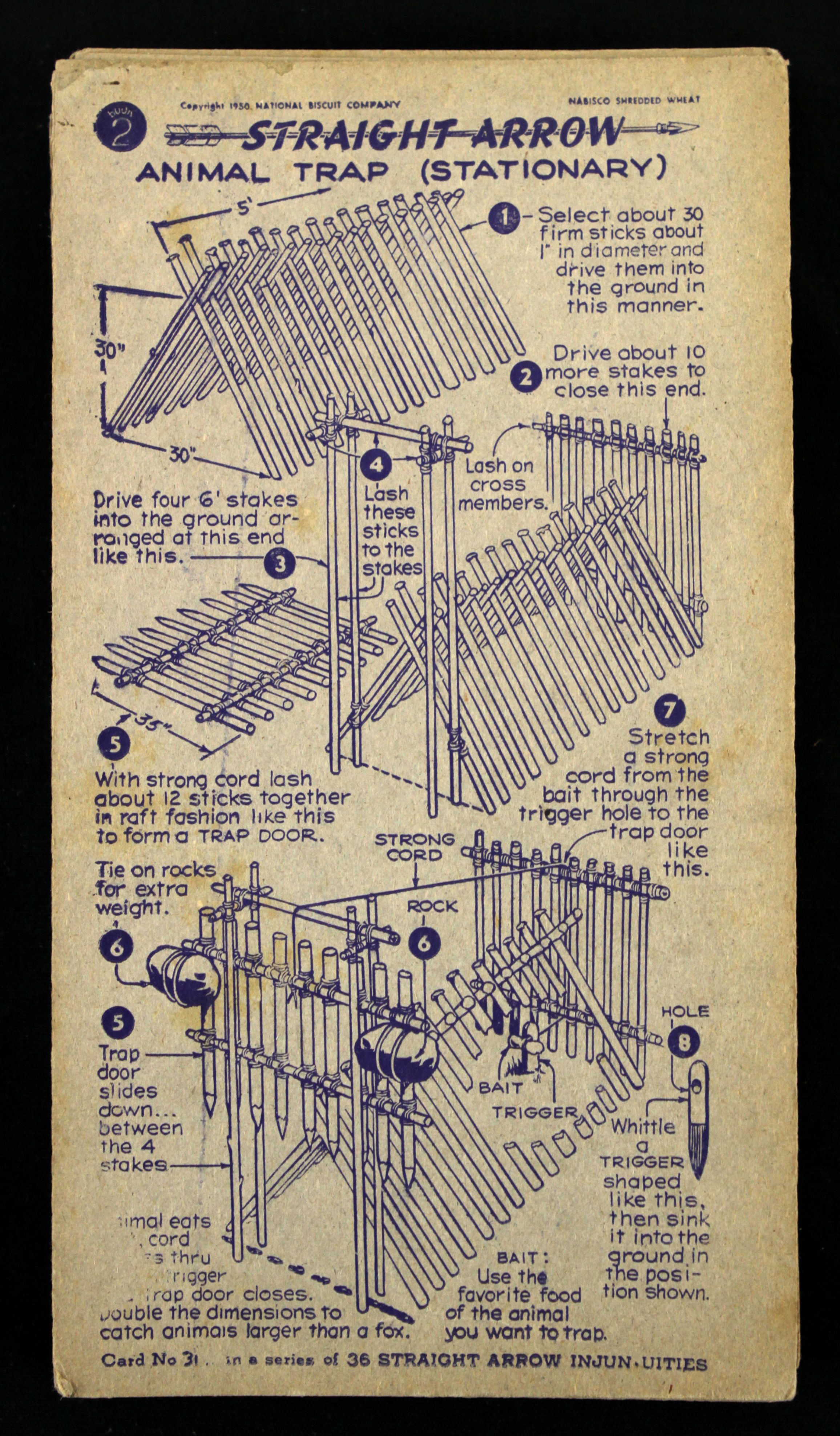 Lot Detail 1950 Straight Arrow Nabisco Shredded Wheat Insert W 30 Trapdoor Schematic Of 36 From Book 2