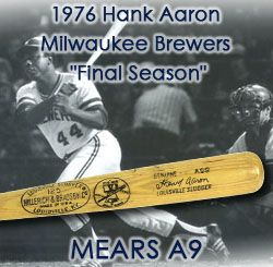 "1976 Hank Aaron Milwaukee Brewers H&B Louisville Slugger Professional Model Bicentennial Game Used Bat w/ Vintage Autograph (MEARS A9) ""One of Hammers Very Last Bats"""