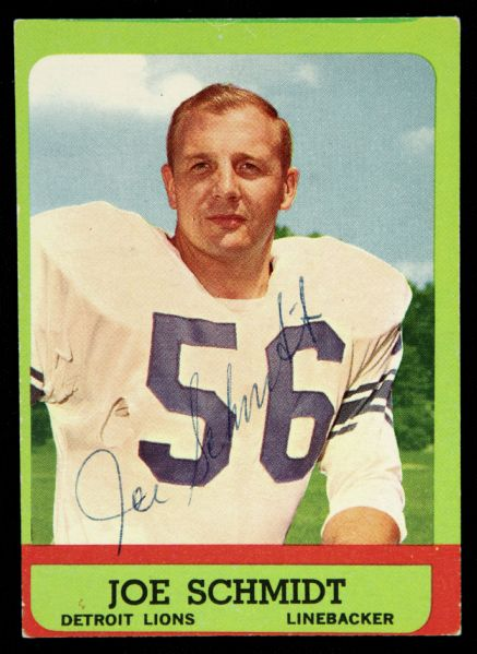 1963 Topps Joe Schmidt Detroit Lions Signed Card (JSA)