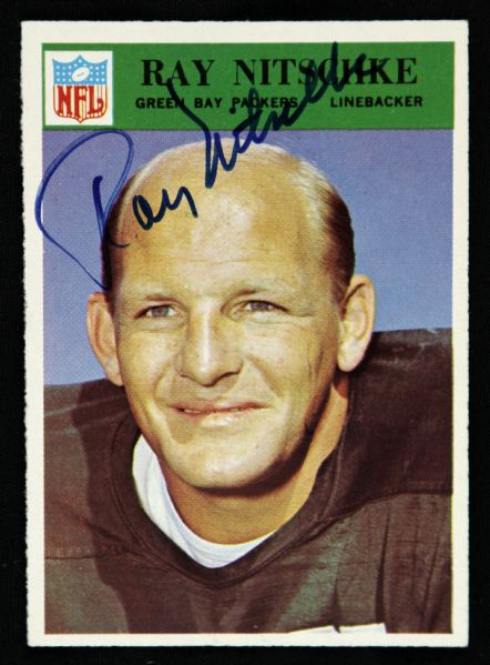 1966 Philadelphia Ray Nitschke Green Bay Packers Signed Card (JSA)