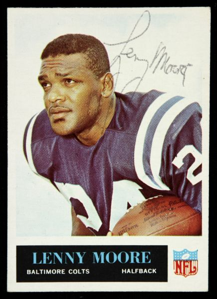 1965 Philadelphia Lenny Moore Baltimore Colts Signed Card (JSA)