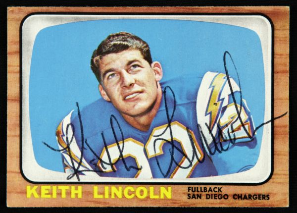 1965 Topps Keith Lincoln San Diego Chargers Signed Card (JSA)