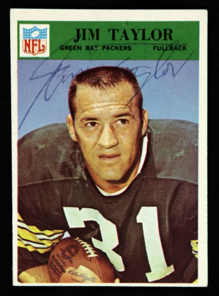 1966 Philadelphia Jim Taylor Green Bay Packers Signed Card (JSA)