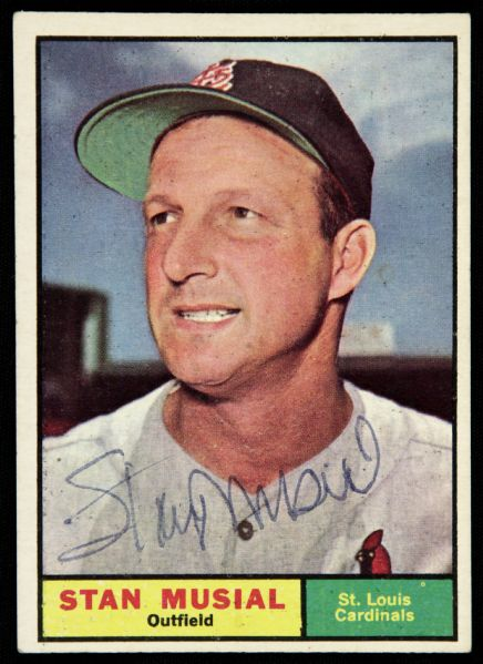 1961 Topps Stan Musial St. Louis Cardinals Signed Card (JSA)