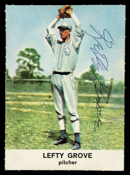 1961 Golden Press Lefty Grove Philadelphia Athletics Signed Card (JSA)