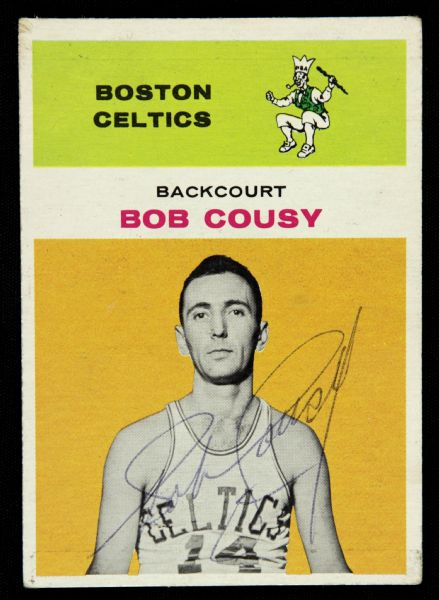 1961/62 Fleer Bob Cousy Boston Celtics Signed Card (JSA)