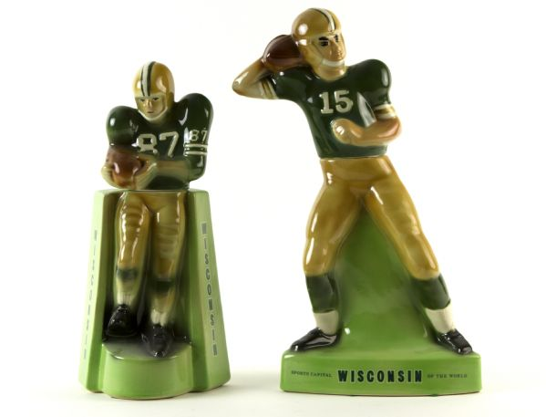 1970-71 Green Bay Packers Royal Haliburton Whiskey Decanter - Lot of 2 - Featuring #15 Bart Starr