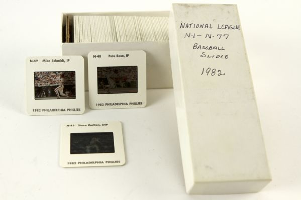 "1982 Official National League 2"" x 2"" Full Color Player Slides - Lot of 77 With Original Paperwork"