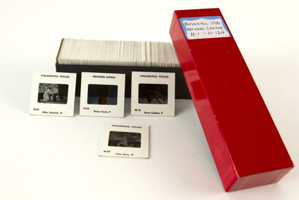 "1981 Official National League 2"" x 2"" Full Color Player Slides - Lot of 124 With Original Paperwork"