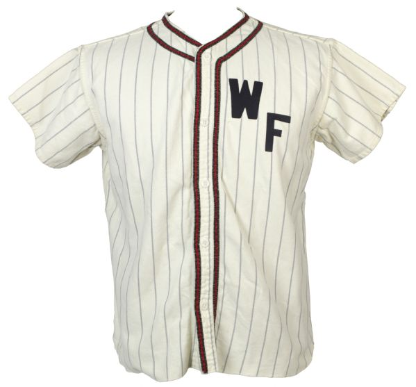 1960s WF #17 Pinstriped Flannel Baseball Jersey w/ Empire Tag