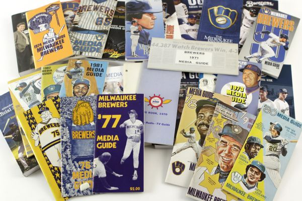 1969-2011 Seattle Pilots/Milwaukee Brewers Media Guide Collection - Lot of 43 (Nearly Complete)