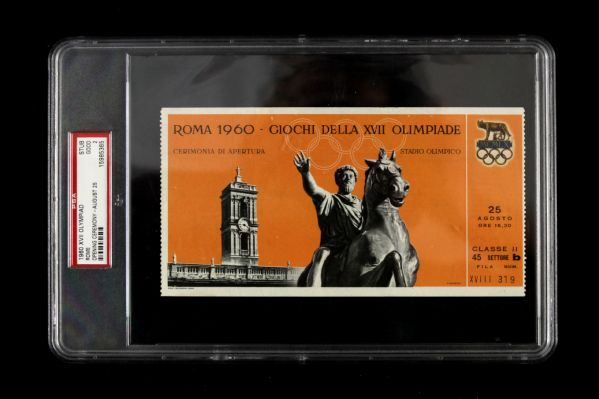 1960 Rome XVII Olympiad Opening Ceremony at Stadio Olimpico Slabbed Ticket (PSA)