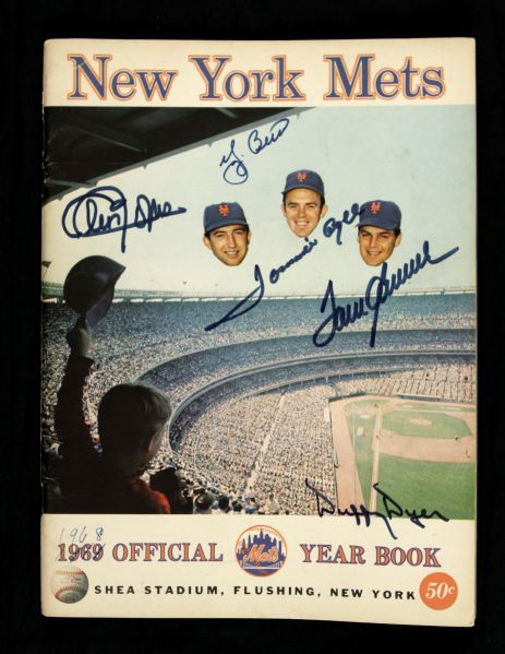 1969 New York Mets Official Yearbook w/ 5 Signatures Including Yogi Berra, Tom Seaver and More (JSA)