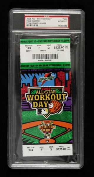 2006 MLB Home Run Derby & All Star Workout Day Slabbed Ticket (PSA)